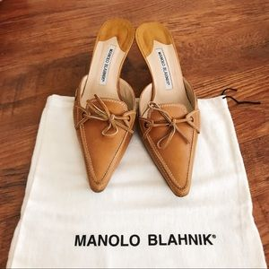 Manolo Blahnik Lace Up Tan Leather Mules 9.5